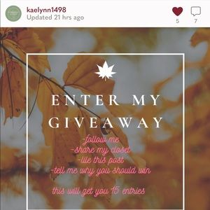 Giveaway entry 💟